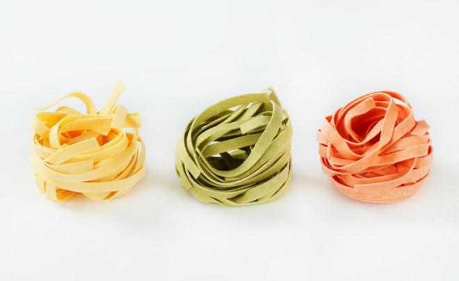 Italian tagliatelle pasta in three colors