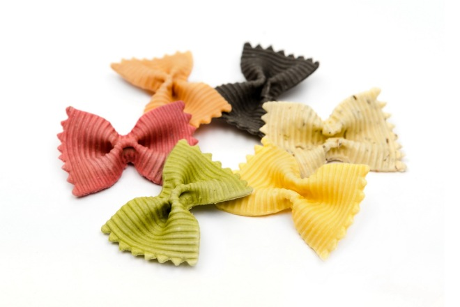 Italian farfalle pasta in different colors