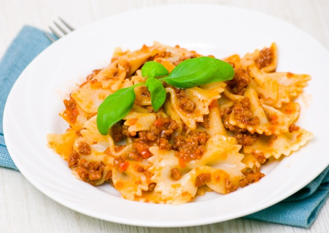 Farfalle pasta with sauce Bolognese