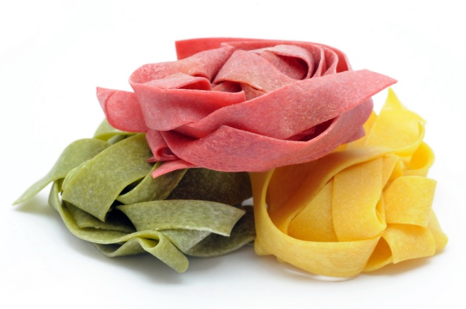 Italian pappardelle pasta in three colors