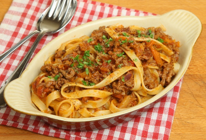 Tagliatellepasta with sauce Bolognese