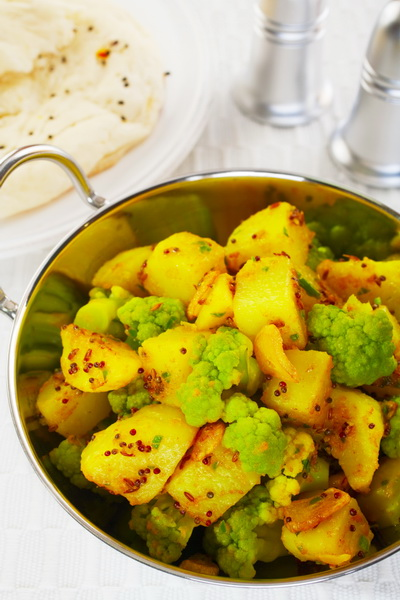 South Indian dish, cauliflower and potato curry