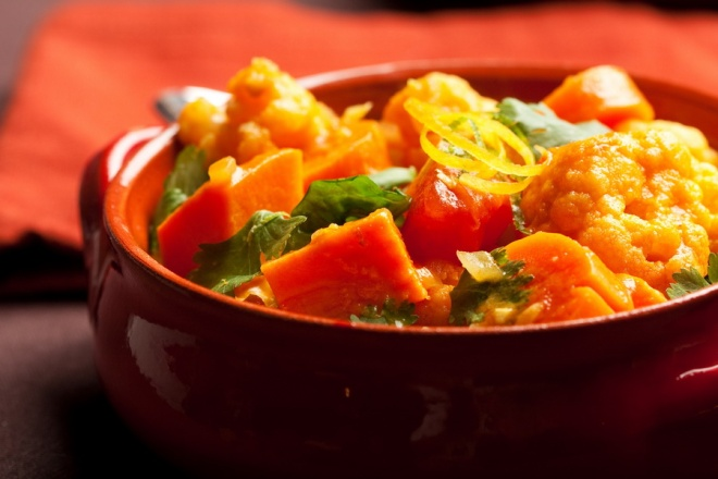 Indian vegetables curry with cauliflower, sweet potato and carrot