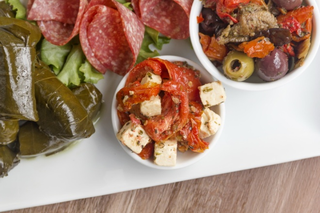 Feta cheese and sundried tomato on an antipasto platter_resize