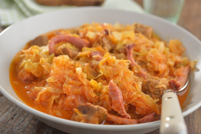 Bigos, the traditional Polish hunters' stew of cabbage and meat