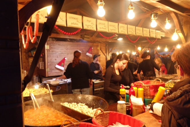 traditional Polish food at a stall at Krakow Christmas Market