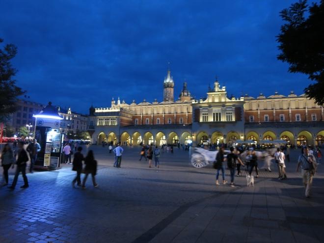 Krakow's Main Market Square at night