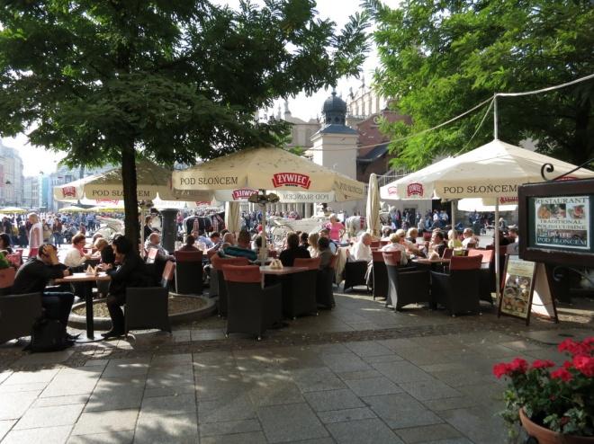 Open air restaurants at Krakow's Main Market Square