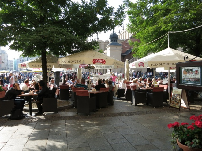 Open air restaurants at Krakow's Main Market Square